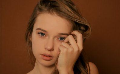 Milena D, girl model, face, 4k