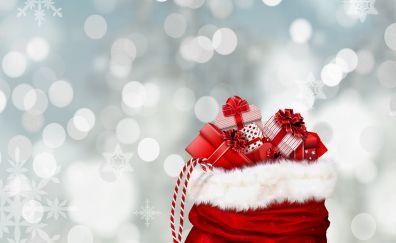 Gifts bag, bokeh, snowflakes, Christmas, 4k