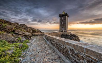 Lighthouse, coast, road, 5k, sunset