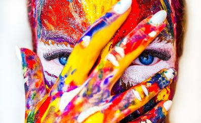Paint on face and hand, colorful, close up, 4k