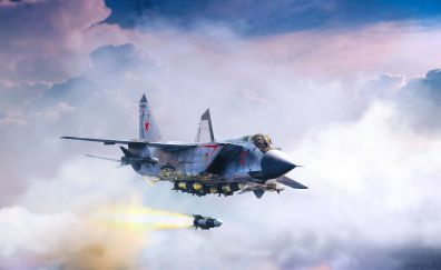 Mikoyan MiG-31, fighter aircraft, clouds, sky