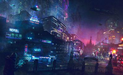 Cyberpunk, night, lights, future city, artwork