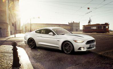 Ford mustang, white, 5k
