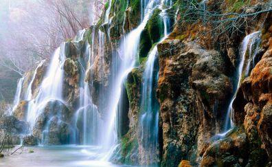 Rocks, moss, nature, waterfall