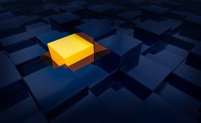 Cubes, abstract, yellow, dark