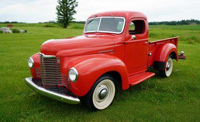 Red car, 1949 international harvester kb1, classic car