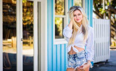 Smile, beautiful woman, short jeans