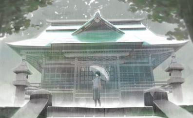 House, rain, anime girl, outdoor