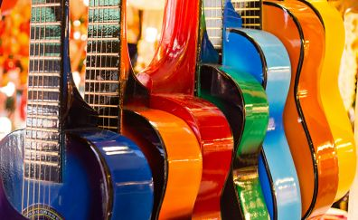 Colorful guitars, musical instruments, music