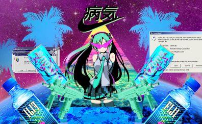 Hatsune miku, classic, glitch art