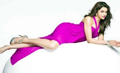 Deepika Padukone, lying down, Indian actress, 4k