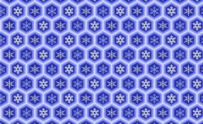 Snowflakes, hexagons, pattern, abstract