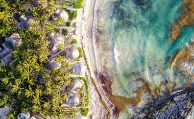 Tulum, resort town, hut, palm tree, aerial view
