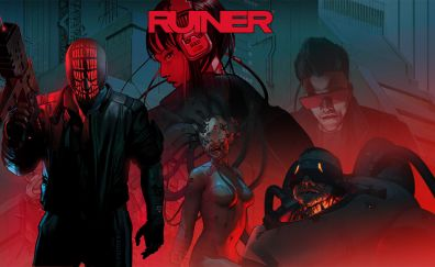 Ruiner, cyborg, game, red