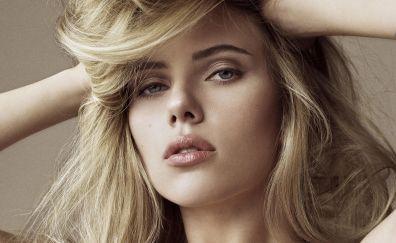 Scarlett Johansson, actress, blonde, face, 4k