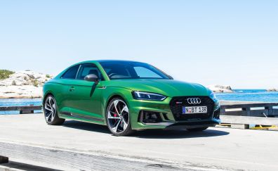 Audi rs5 coupe, green car, 4k