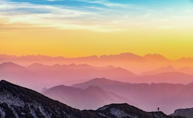 Sunset, horizon, mountains, nature, 4k