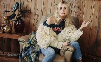 Elle Fanning, sitting, chair, blonde, actress