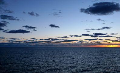 Ocean, Atlantic horizon, sunset