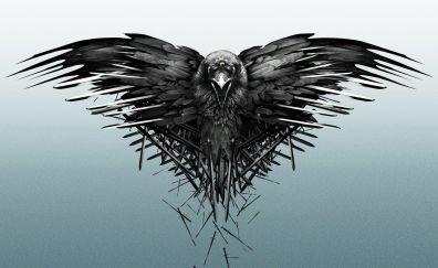 Game of thrones, TV show, crow, raven, artwork