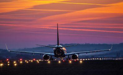 Boeing airplane, sunset