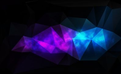 Abstract, low poly, artwork, dark, triangles