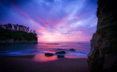 Purple sky, sunset, nature, beach