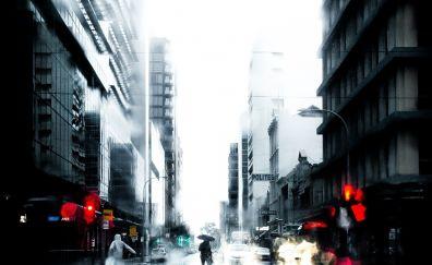City street in rain