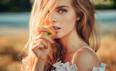 Blue eyes, girl model, apple