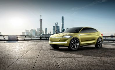 Skoda Vision E, concept car, front view, 4k