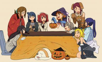 Love live! sunshine!!, anime girls, halloween, party