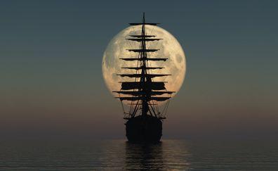 Moon, sail ship, night