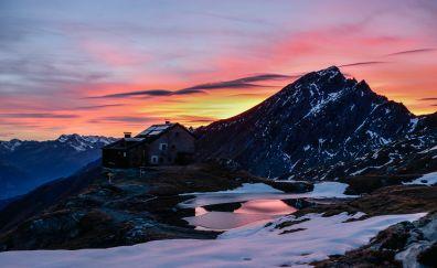 Cottage, house, mountains, sunset, skyline, 5k
