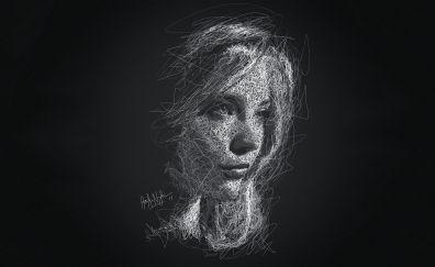 Natalie dormer, scribble artwork, 4k