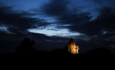 Sunrise, temple, Indian, architecture, clouds