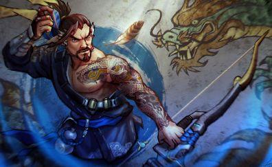Angry hanzo, archer, overwatch, warrior, art