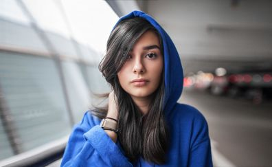 Woman, blue hoodies, beautiful