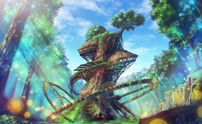 Tree house, fantasy, art