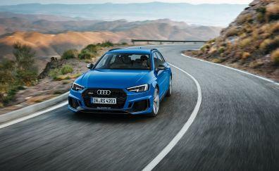 Blue car, on road, Audi RS4, 4k