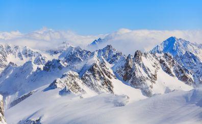 Titlis, swiss alps, mountains, winter, 4k