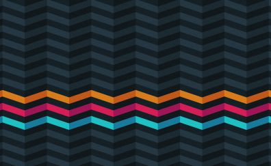Three, colorful stripes, dark, abstract