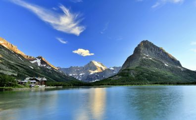 Lake, nature, Mount Gould, mountains, 4k