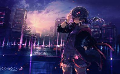 Yuzuki Yukari, Vocaloid, city, anime, anime girl