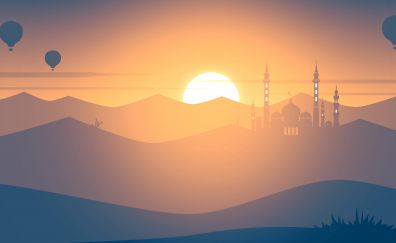 Sunset, mosque, hot air balloons, landscape, minimal, 4k