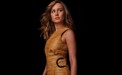 Brie Larson, backstage, orange dress, 2017, 4k
