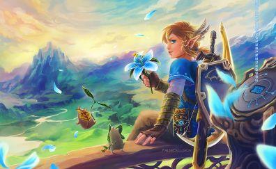 The Legend of Zelda: Breath of the Wild, 2017 game, video game, art, link, warrior