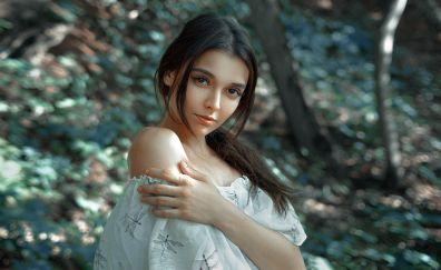 Outdoor, brown eyes, girl model