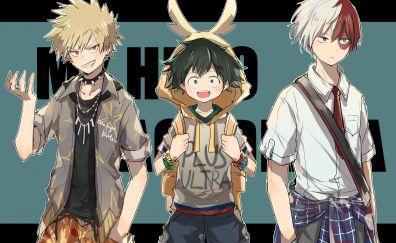 Izuku Midoriya, Katsuki Bakugou, Shouto Todoroki, Boku no Hero Academia, anime boys