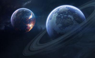 Saturn, planet of rings, dark, 5k