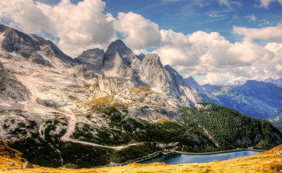 Dolomites, mountains, landscape, lake